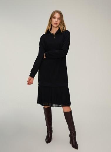 NGSTYLE Kapuşonlu Sweat Elbise Siyah